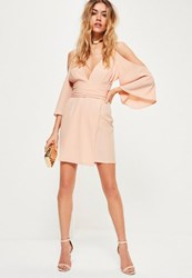 Missguided Nude Crepe Cold Shoulder Kimono Sleeve Wrap Shift Dress