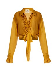 By. Bonnie Young Ruffle Trimmed Silk Chiffon Blouse Dark Yellow