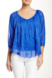 Luma Scoop Neck Blouse Blue