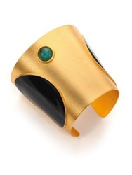 Paula Mendoza Tapered Emerald And Enamel Cuff Bracelet Gold Emerald