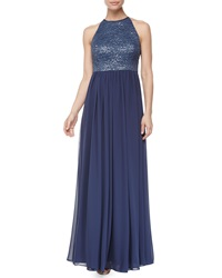 Vera Wang Lace Halter Open Back Gown Blue Fog