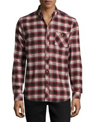 Wesc Olive Plaid Slim Fit Shirt Rose