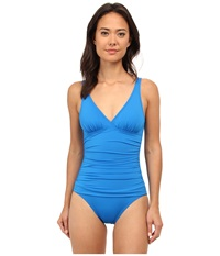 Tommy Bahama Pearl V Neck Surplice One Piece Sailor Blue Women's Swimsuits One Piece