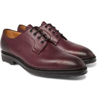 Edward Green Caudale Textured Leather Derby Shoes Burgundy