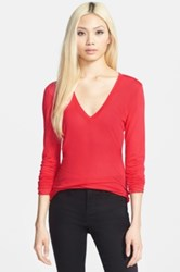 Leith Long Sleeve V Neck Tee Red