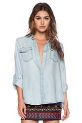 Sam Edelman Split Back Button Shirt Blue