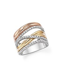 Bloomingdale's Diamond Crossover Ring In 14K White Yellow And Rose Gold .65 Ct. T.W. White Multi
