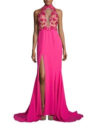 Glamour By Terani Couture Embroidered Sleeveless Gown Fuchsia