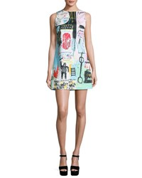 Alice Olivia Clyde Graffiti Print Shift Dress Multi Colors
