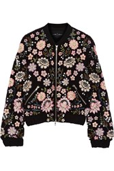 Needle And Thread Embellished Chiffon Bomber Jacket Black Pink