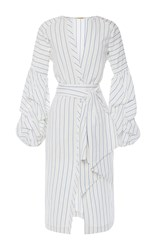 Johanna Ortiz Linen Striped Juliet Wrap Front Tunic White