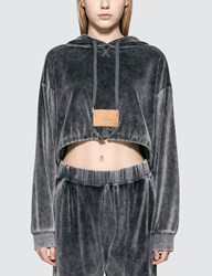 Alexander Wang Velour Terry Cropped Hoodie