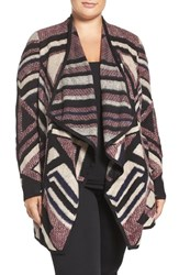 Lucky Brand Plus Size Women's Drape Front Cotton Blend Intarsia Cardigan