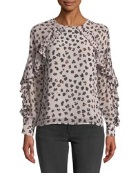 Cupcakes And Cashmere Deen Leopard Print Top With Pleated Trim Lilac