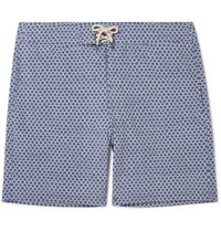 Faherty Slim Fit Long Length Printed Swim Shorts Blue