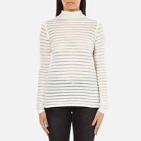 Karl Lagerfeld Women's Stripes Sheer And Solid Sweater White