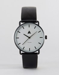 Asos Minimal Watch With Leather Strap In Black Black