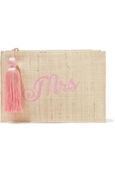 Kayu Mrs Embroidered Woven Straw Pouch Beige