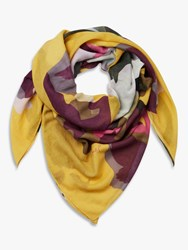 Joules Atmore Large Square Floral Cotton Scarf Gold Multi