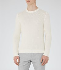 Reiss Pilot Mens Textured Knitted Jumper In White