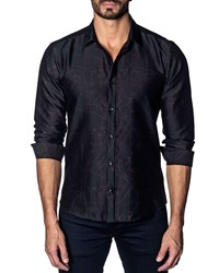 Jared Lang Modern Fit Woven Long Sleeve Shirt Navy Shirt Patter