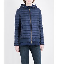 Moncler Honore Double Layer Quilted Shell Jacket Blue