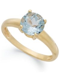 Victoria Townsend 18K Gold Over Sterling Silver Ring Aqua Topaz March Birthstone Ring 1 1 2 Ct. T.W.