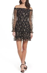 Sam Edelman Women's Off The Shoulder Star Embroidered Dress Gold Star