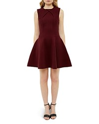 Ted Baker Ribbed Party Dress Maroon