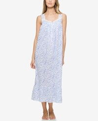Eileen West Lace Trimmed Printed Ballet Length Nightgown Rose Print