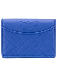 Tory Burch Quilted Wallet Women Leather One Size Blue