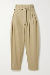Mes Demoiselles Kala Belted Cropped Metallic Trimmed Cotton Canvas Tapered Pants Beige