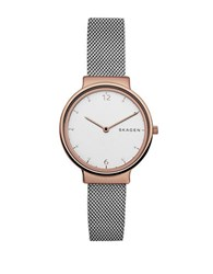 Skagen Ancher Two Tone Stainless Steel Mesh Bracelet Watch And Katrine Reversible Heart Pendant Necklace