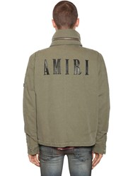 Amiri Cotton Canvas Jacket W Leather Patches Green