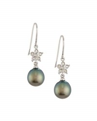 Belpearl 14K Diamond Flower And Tahitian Pearl Dangle Earrings