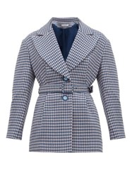 Vika Gazinskaya Single Breasted Houndstooth Wool Blazer Blue Multi