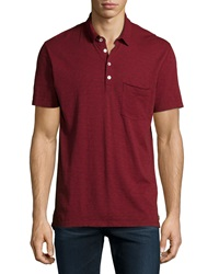 7 For All Mankind Raw Edge Short Sleeve Polo Shirt Crimson
