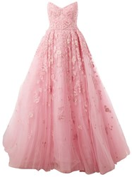 Zuhair Murad Embroidered Design Flared Gown Pink And Purple