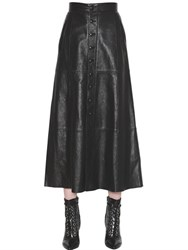 Saint Laurent Button Up Leather Midi Skirt