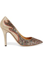 Etoile Isabel Marant Gilby Glittered Metallic Suede Pumps
