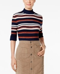 Styleandco. Style Co. Petite Striped Mock Neck Sweater Only At Macy's Indigo Blue Combo