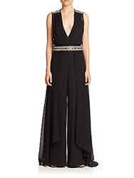 Haute Hippie Embellished Silk Wide Leg Jumpsuit Black