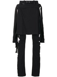 Unravel Project Layered Distressed Skinny Jeans Cotton Polyester Spandex Elastane Black
