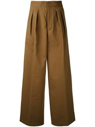 Estnation Pleated High Waisted Trousers Brown