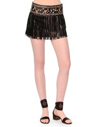 Valentino Leather Fringe Mini Skirt W Painted Waistband Black