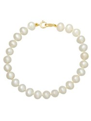 Lord And Taylor 14K Yellow Gold 5Mm Pearl Strand Baby Bracelet Pearl Gold