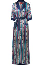 F.R.S For Restless Sleepers Eurinome Belted Printed Cotton And Silk Blend Maxi Dress Navy