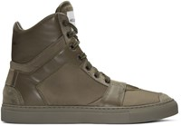 Helmut Lang Brown Heritage High Top Sneakers