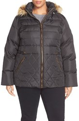 Plus Size Women's Larry Levine Quilted Down And Feather Fill Jacket With Faux Fur Trim Black