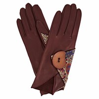 Gizelle Renee Padma Burgundy Leather Gloves With Bm Liberty Tana Lawn Pink Purple Brown